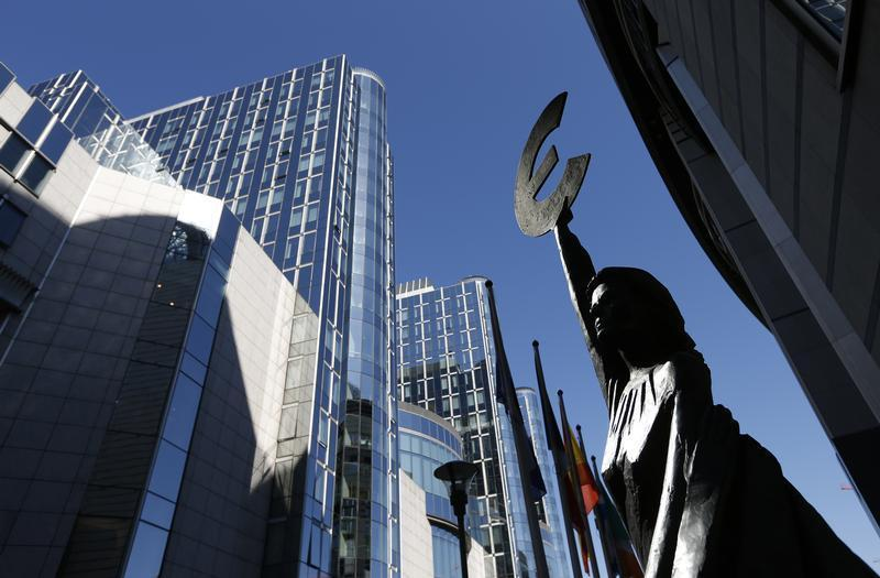 A statue depicting European unity is seen outside the European Parliament in Brussels