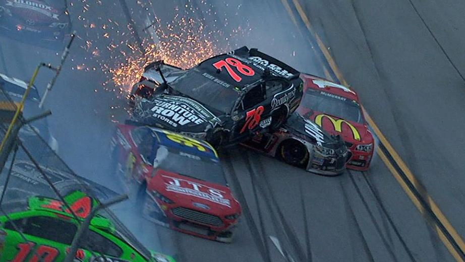 Kurt Busch goes for a wild ride in the midst of a big wreck at Talladega Superspeedway.