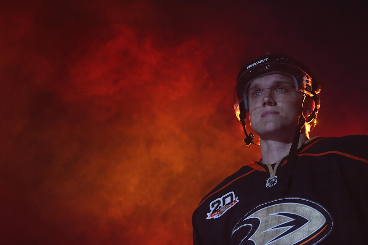 ANAHEIM, CA - OCTOBER 10: Jakob Silfverberg #33 of the Anaheim Ducks is introduced prior to the start of the game against the New York Rangers at Honda Center on October 10, 2013 in Anaheim, California. The Ducks defeated the Rangers 6-0. (Photo by Jeff Gross/Getty Images)