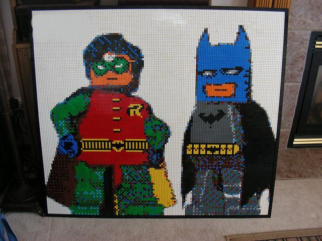 A Lego Batman and Robin Mosaic made by Dave Ware for his son's 5th birthday