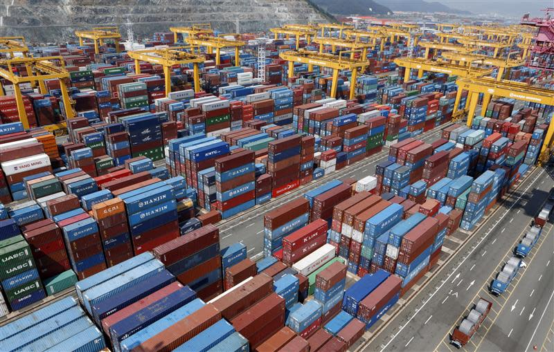 Hanjin Shipping's container terminal is seen at the Busan New Port in Busan
