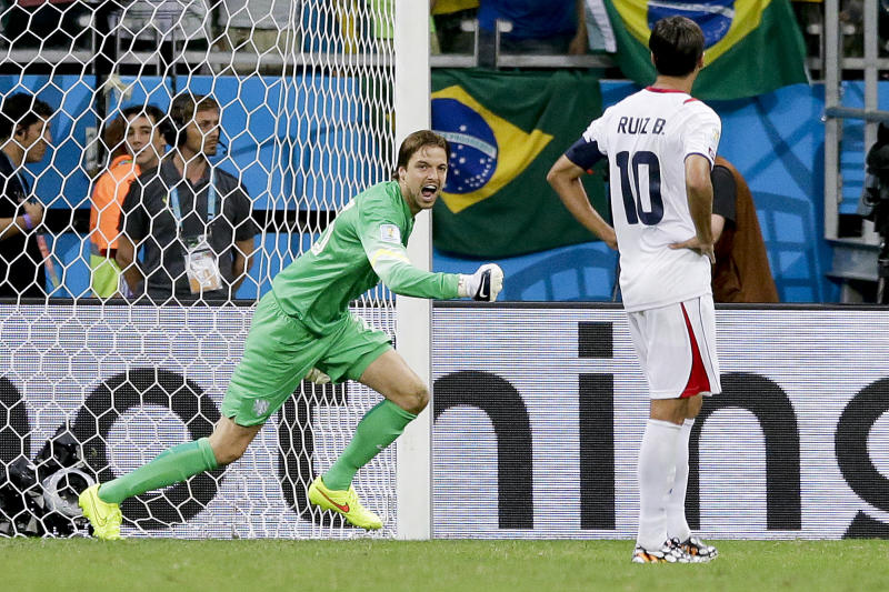 Netherlands' goalkeeper Tim Krul celebrates after saving a penalty against Costa Rica on Saturday. (AP)