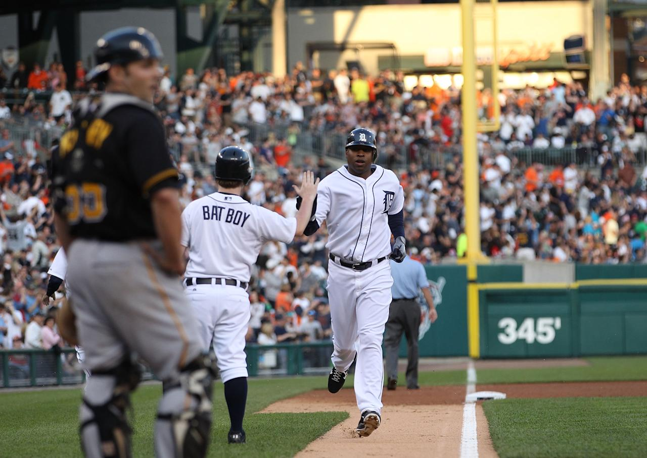 DETROIT, MI - MAY 18: Delmon Young #21 of the Detroit Tigers rounds third base after hitting a solo home run in the fourth inning during the game against the Pittsburgh Pirates at Comerica Park on May 18, 2012 in Detroit, Michigan.  (Photo by Leon Halip/Getty Images)