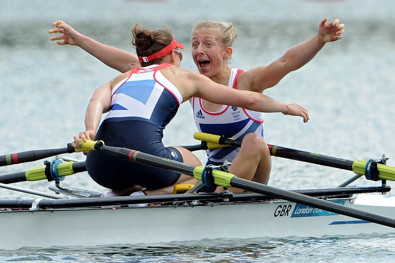 WINDSOR, ENGLAND - AUGUST 04:  Katherine Copeland and Sophie Hosking of Great Britain celebrate winning gold in the Lightweight Women's Double Sculls Final on Day 8 of the London 2012 Olympic Games at Eton Dorney on August 4, 2012 in Windsor, England.  (Photo by Harry How/Getty Images)