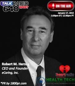 """eCaring, Inc. CEO Robert M. Herzog to Be Interviewed Live on iHeart Radio/Clear Channel Atlanta Studios - 640 WGST AM's """"HealthTech Talk Live"""" on January 17, 2015"""