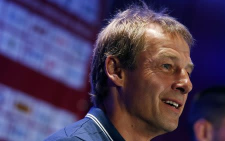 Klinsmann, head coach of the U.S. men's national soccer team, speaks to the media during a news conference in New York City
