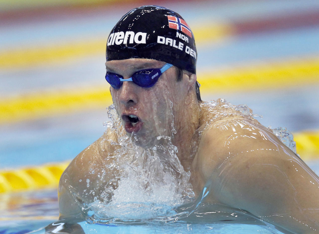 Alexander Dale Oen from Norway swims a Men's 50m Breaststroke heat at the European Short Course Swimming Championships in Szczecin, Poland, Saturday, Dec. 10, 2011. (AP Photo/Michael Sohn)