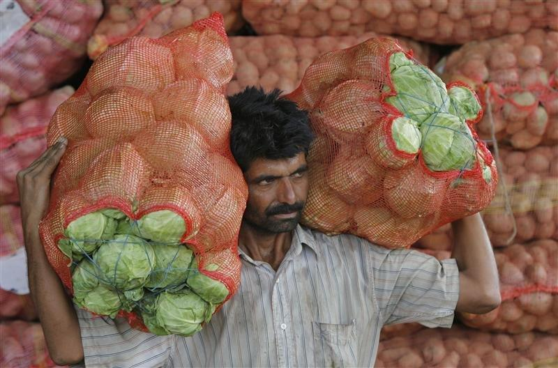 A man carries sacks filled with cabbages at a wholesale vegetable market on the outskirts of Jammu