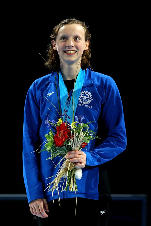 OMAHA, NE - JULY 01:  Kathleen Ledecky participates in the medal ceremony for the Women's 800 m Freestyle during Day Seven of the 2012 U.S. Olympic Swimming Team Trials at CenturyLink Center on July 1, 2012 in Omaha, Nebraska.  (Photo by Al Bello/Getty Images)