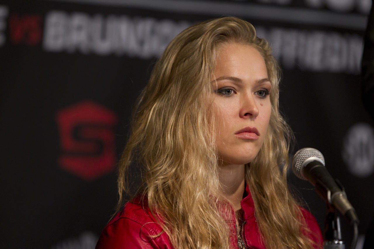 SAN DIEGO, CA - AUGUST 16:  Ronda Rousey interacts with media during the Strikeforce press conference at Valley View Casino Center on August 16, 2012 in San Diego, California. (Photo by Esther Lin/Forz LLC/Forza LLC via Getty Images)