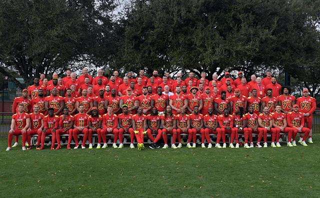 Jan 27, 2017; Kissimmee, FL, USA; AFC players and coaches pose for a team photo during practice for the 2017 Pro Bowl at ESPN Wide World of Sports Complex. Mandatory Credit: Kirby Lee-USA TODAY Sports