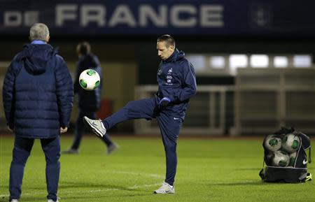 France's national soccer team player Ribery attends a training session at Clairefontaine