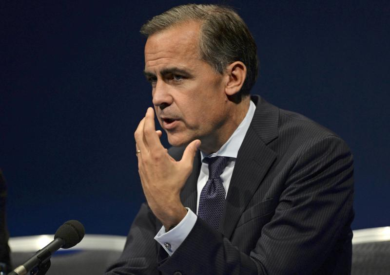 Bank of England governor Mark Carney gestures during a news conference after addressing business leaders in Nottingham, central England
