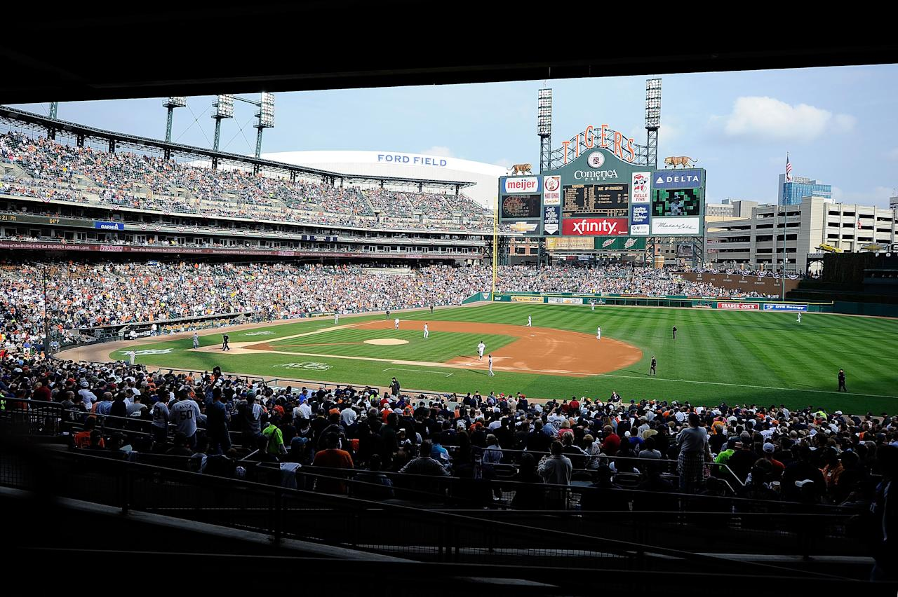 DETROIT, MI - OCTOBER 13:  A view of Game Five of the American League Championship Series between the Texas Rangers and the Detroit Tigers at Comerica Park on October 13, 2011 in Detroit, Michigan.  (Photo by Kevork Djansezian/Getty Images)