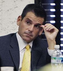Marlins team president David Samson listens to closing arguments during a 2008 lawsuit challenging a $3 billion public works financing plan that includes money for a new ballpark