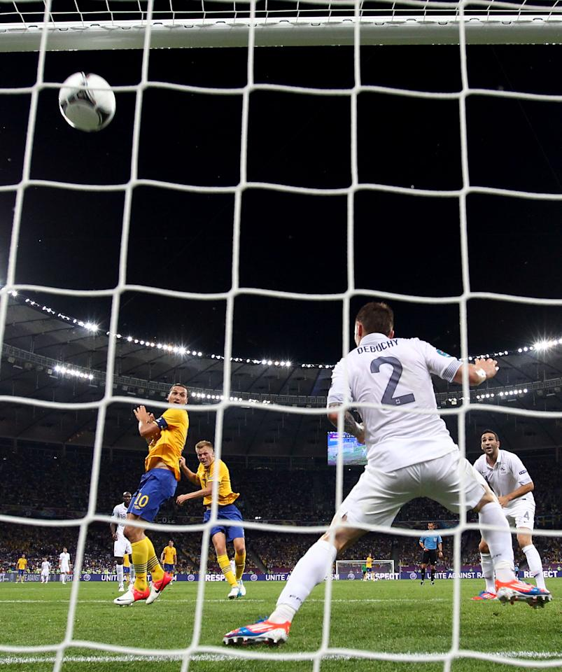 KIEV, UKRAINE - JUNE 19:  Sebastian Larsson of Sweden scores his teams second goal during the UEFA EURO 2012 group D match between Sweden and France at The Olympic Stadium on June 19, 2012 in Kiev, Ukraine.  (Photo by Julian Finney/Getty Images)