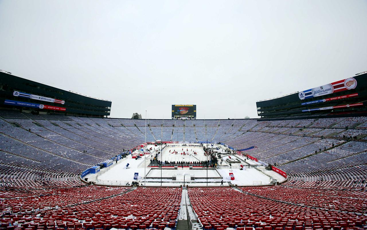 Dec 31, 2013; Ann Arbor, MI, USA; A general view as the Detroit Red Wings players gather at mid ice during practice the day before the Winter Classic hockey game against the Toronto Maple Leafs at Michigan Stadium. (Jerry Lai-USA TODAY Sports)