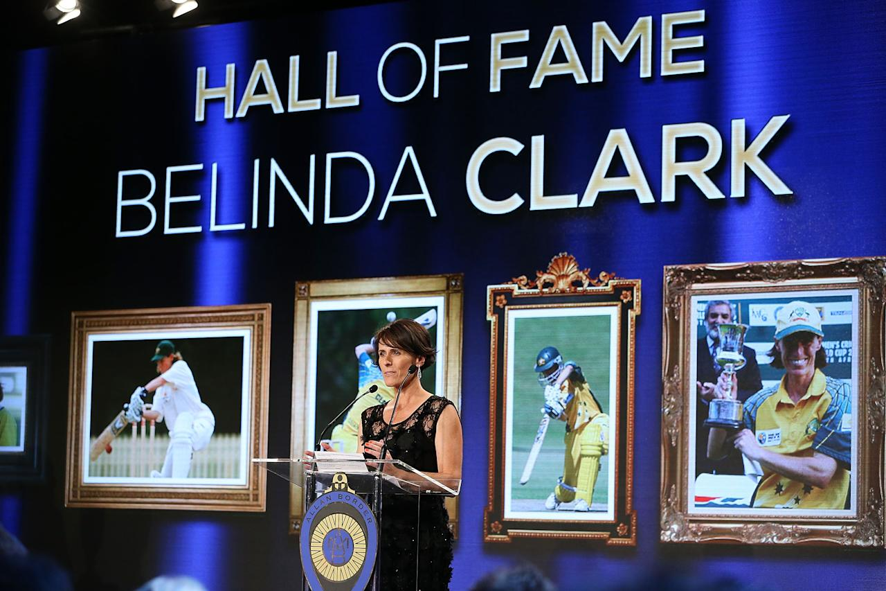 SYDNEY, AUSTRALIA - JANUARY 20:  Belinda Clark speaks after being inducted into the Australian Cricket Hall of Fame during the 2014 Allan Border Medal at Doltone House on January 20, 2014 in Sydney, Australia.  (Photo by Mark Metcalfe/Getty Images)
