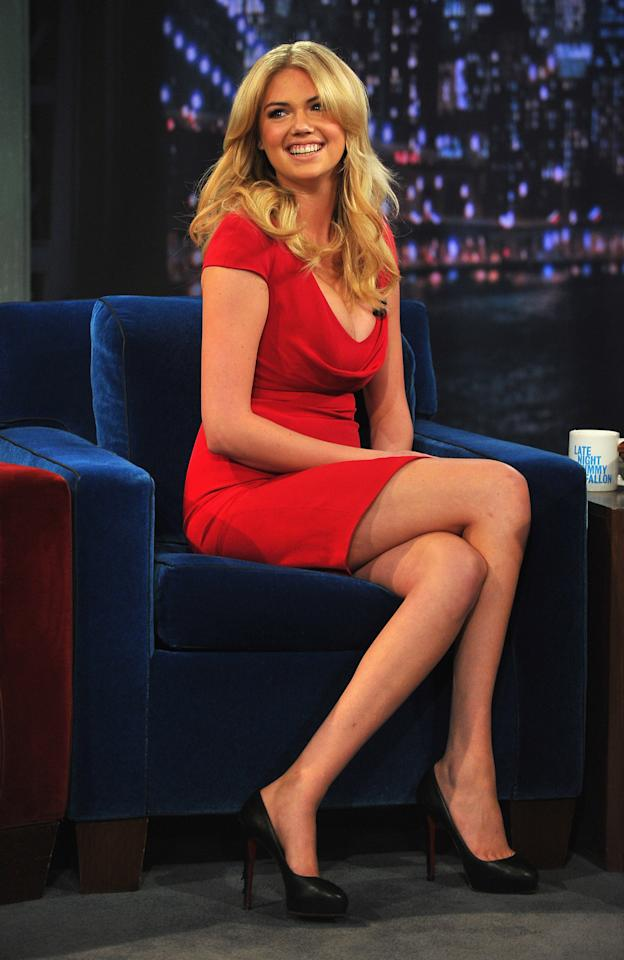 """NEW YORK, NY - FEBRUARY 25:  Kate Upton visits """"Late Night With Jimmy Fallon"""" at Rockefeller Center on February 25, 2013 in New York City.  (Photo by Theo Wargo/Getty Images)"""