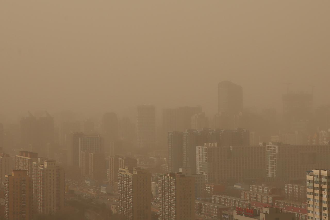 A general view of the skyline in the sandstorm on February 28, 2013 in Beijing, China. (Photo by Feng Li/Getty Images)