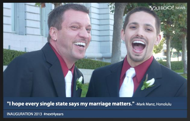 """Mark Manz, who got married in 2008 in California when gay marriage was legal there, now lives in Hawaii and writes that his marriage was """"downgraded"""" to a civil union when he moved. He says """"Obama and Congress need to take steps to work together"""" to bring gay marriage to all 50 states.  """"Obama ran on change; we didn't get much the first four years. I am hoping that now that he has nothing to lose, this change will happen. ... We want the freedom to love no matter where we live and hope Obama gives that to us these next four years."""""""