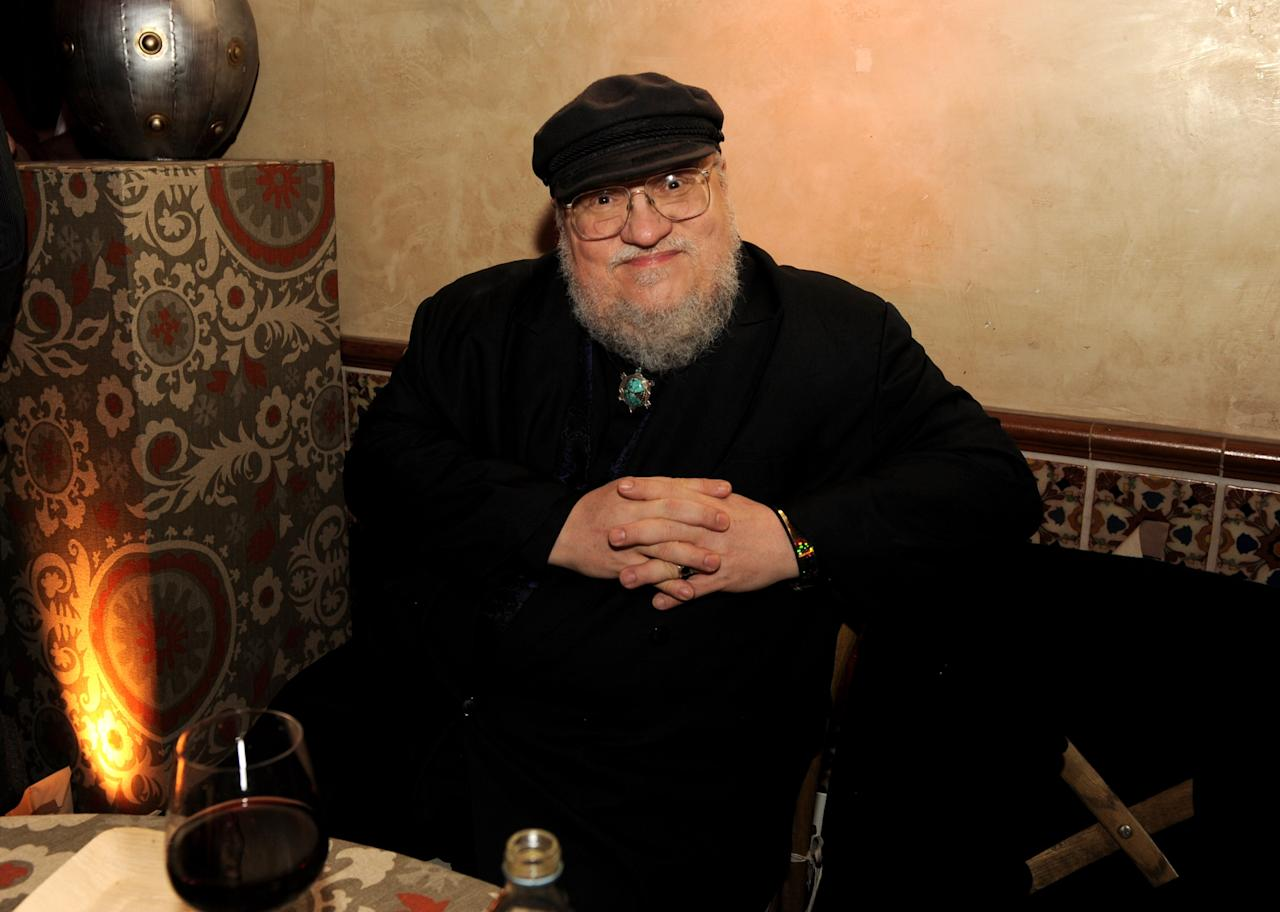 "LOS ANGELES, CA - MARCH 18:  Author George R.R. Martin poses at the after party for the premiere of HBO's ""Game Of Thrones"" at the Roosevelt Hotel on March 18, 2013 in Los Angeles, California.  (Photo by Kevin Winter/Getty Images)"