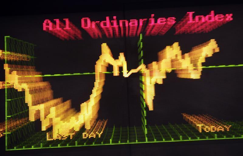 Today's Ordinaries Index curve is seen at the Australian Securities Exchange in central Sydney