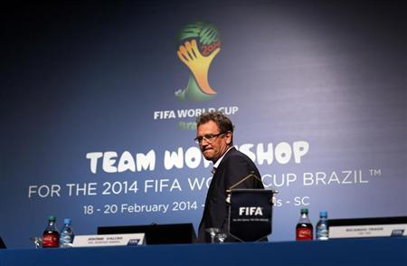 Jerome Valcke arrives to speak about the status of the host city Curitiba ahead of the 2014 FIFA World Cup in Florianopolis in Santa Catarina state