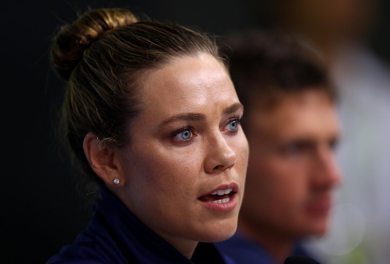 SHANGHAI, CHINA - JULY 23:  (L-R) Natalie Coughlin and Ryan Lochte of the United States participate in a press conference on Day Eight of the 14th FINA World Championships at the Main Press Center of the Oriental Sports Center on July 23, 2011 in Shanghai, China.  (Photo by Quinn Rooney/Getty Images)