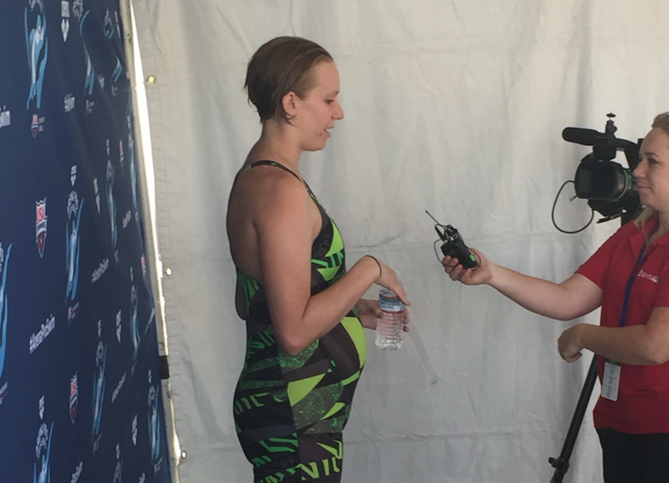 Dana Vollmer is still competing while 6-months pregnant with her second child. (Yahoo Sports)