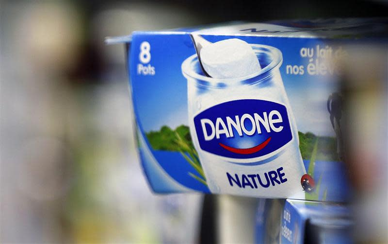 File photo of yoghurt produced by French Dairy Group Danone is displayed on a shelf in an supermarket in Lanton