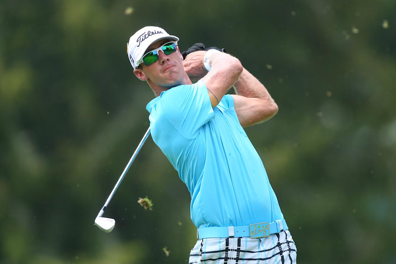 WHITE SULPHUR SPRINGS, WV - JULY 8: Graham DeLaet of Canada hits his tee shot on the third hole during the final round of the Greenbrier Classic at the Old White TPC on July 8, 2012 in White Sulphur Springs, West Virginia. (Photo by Hunter Martin/Getty Images)