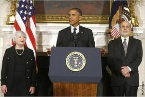President Obama Flanked by Janet Yellen and Ben Bernanke