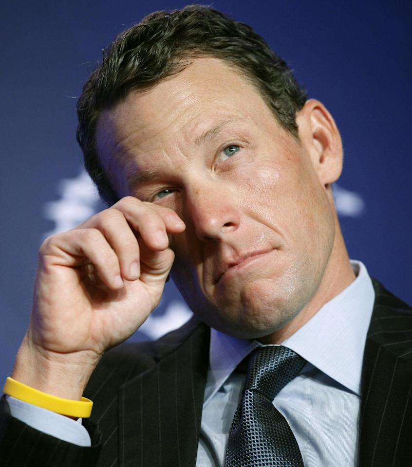 FILE - In this Sept. 22, 2010 file photo, Lance Armstrong, cyclist and Livestrong founder, attends the Clinton Global Initiative in New York. Nike Inc. is cutting ties with the Livestrong cancer charity. The move by the sports company ends a nine-year relationship that helped the foundation raise more than $100 million and made the charity's signature yellow wristband an international symbol for cancer survivors. (AP Photo/Mark Lennihan, File)