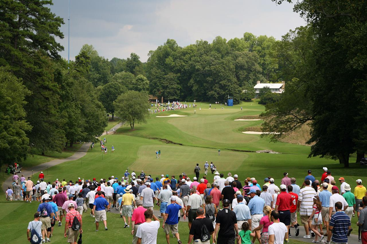 GREENSBORO, NC - AUGUST 18: A scenic view of the sixth hole during the third round of the Wyndham Championship at Sedgefield Country Club on August 18, 2012 in Greensboro, North Carolina. (Photo by Hunter Martin/Getty Images)