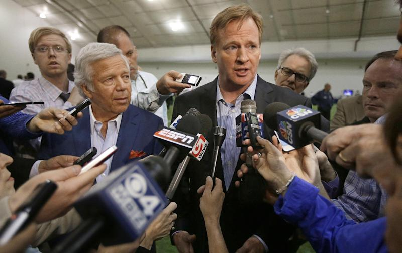 NFL Commissioner Roger Goodell and New England Patriots owner Robert Kraft, left, address members of the media during a football safety clinic for mothers, Thursday, May 29, 2014 at the team's facilities in Foxborough, Mass