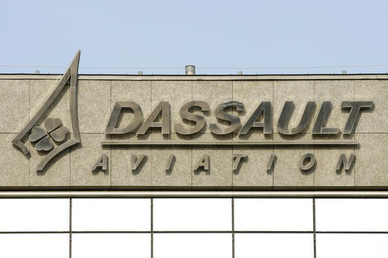 The logo of French airplanes maker Dassault Aviation is pictured before a news conference to present the company's 20011 annual results in Saint Cloud