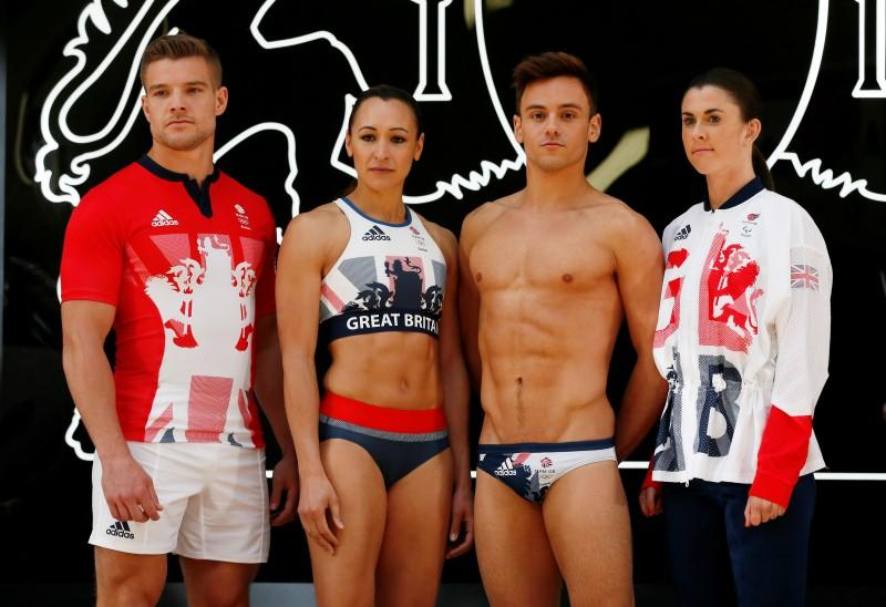 Olympics - Team GB Rio 2016 Olympic Games Kit Launch - Seymour Leisure Centre, London - 27/4/16 (L-R) Team GB's Tom Mitchell, Jessica Ennis-Hill, Tom Daley and Olivia Breen pose for a photo during the kit launch Reuters / Stefan Wermuth Livepic EDITORIAL USE ONLY.