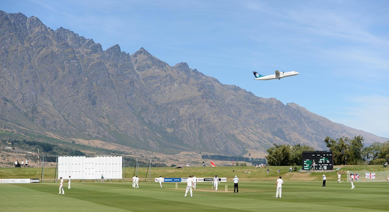 QUEENSTOWN, NEW ZEALAND - FEBRUARY 27:  General view of play as England bat in the foothills of the Remarkables mountain range during the International tour match between New Zealand XI and England at Queenstown Events Centre on February 27, 2013 in Queenstown, New Zealand.  (Photo by Gareth Copley/Getty Images)