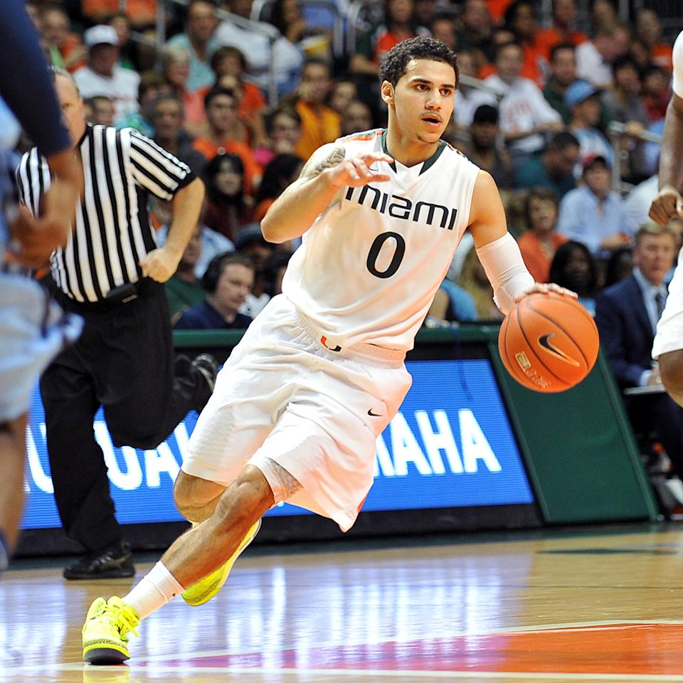 Shane Larkin #0 of the Miami Hurricanes dribbles up court against the North Carolina Tar Heels at the BankUnited Center on February 9, 2013 in Coral Gables, Florida. Miami defeated North Carolina 87-61. (Photo by Lance King/Getty Images)