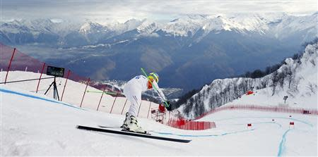 Ligety of the U.S. prepares to start his downhill run of the men's alpine skiing super combined training session at the 2014 Sochi Winter Olympics