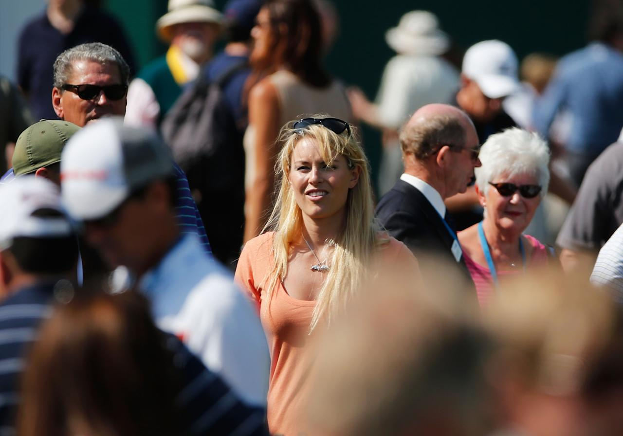 GULLANE, SCOTLAND - JULY 17: Skier Lindsey Vonn smiles ahead of the 142nd Open Championship at Muirfield on July 17, 2013 in Gullane, Scotland. (Photo by Rob Carr/Getty Images)