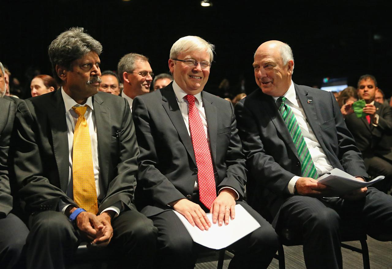 MELBOURNE, AUSTRALIA - JULY 30:  Kapil Dev, former Indian ICC Cricket World Cup Captain, Australian Prime Minister Kevin Rudd and Ralph Waters, Chairman, ICC Cricket World Cup 2015 look on during the Official Launch of the ICC Cricket World Cup 2015 on July 30, 2013 in Melbourne, Australia.  (Photo by Scott Barbour/Getty Images)