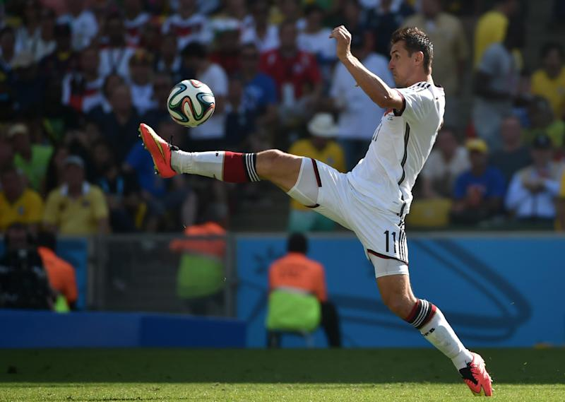 Germany's forward Miroslav Klose controls the ball during a quarter-final football match between France and Germany at the Maracana Stadium in Rio de Janeiro during the FIFA World Cup on July 4, 2014