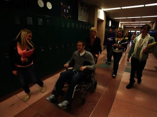 Michigan teen Chandler McBride returned to school this past fall after breaking his neck over the summer -- AP