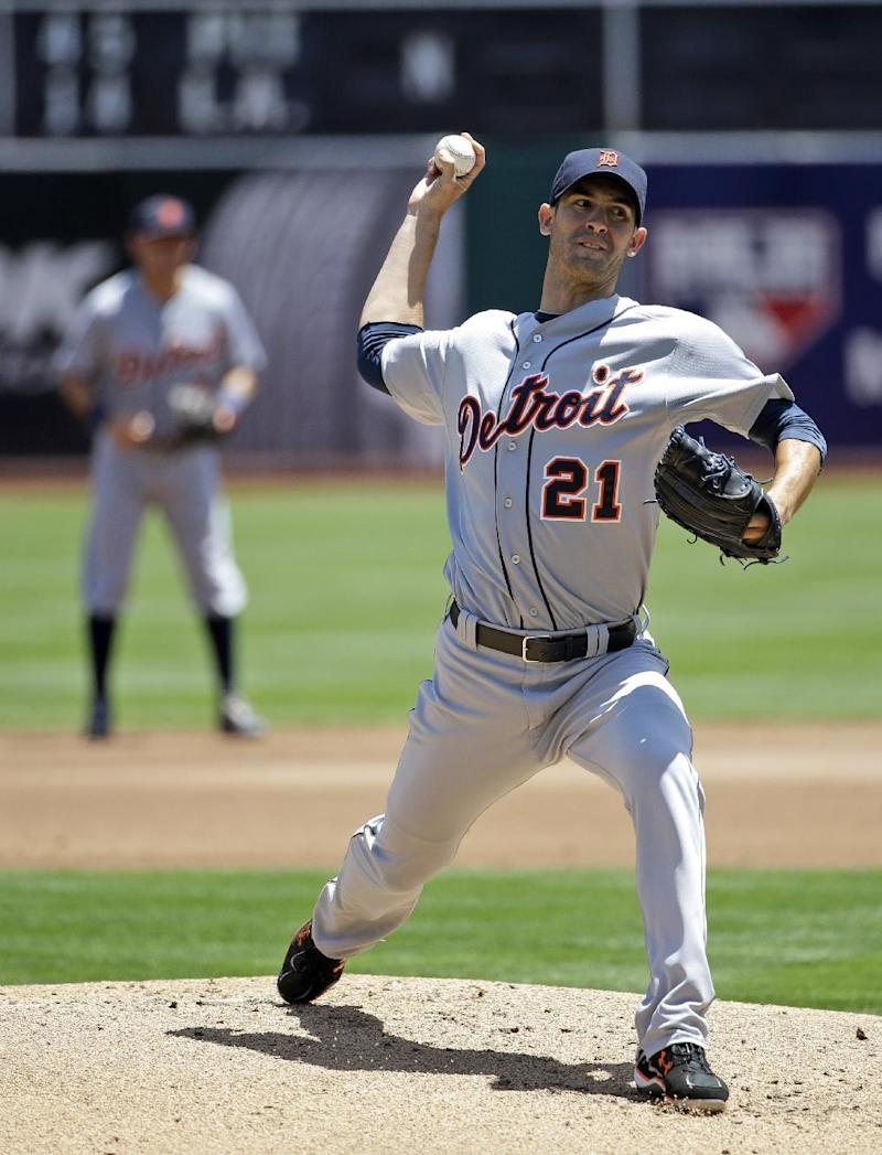 Porcello earns eighth win as Tigers split series