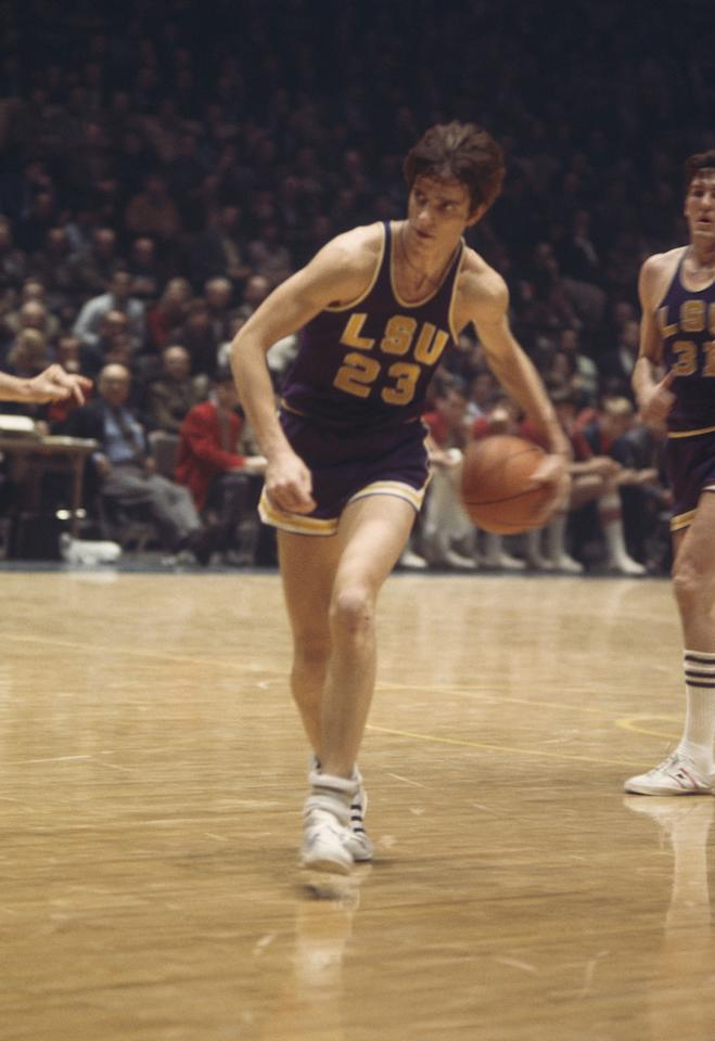 LSU's Pete Maravich #23 dribbles the ball upcourt. (Photo by Focus on Sport/Getty Images)