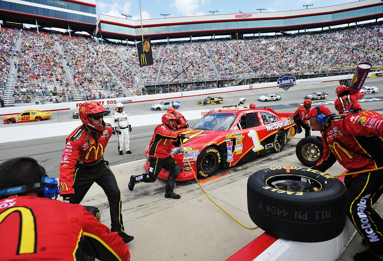 BRISTOL, TN - MARCH 18:  Jamie McMurray, driver of the #1 McDonald's Chevrolet, pits during the NASCAR Sprint Cup Series Food City 500 at Bristol Motor Speedway on March 18, 2012 in Bristol, Tennessee.  (Photo by Rainier Ehrhardt/Getty Images for NASCAR)