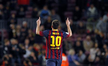 Barcelona's Lionel Messi celebrates a goal against Athletic Bilbao during their La Liga soccer match at Camp Nou stadium in Barcelona
