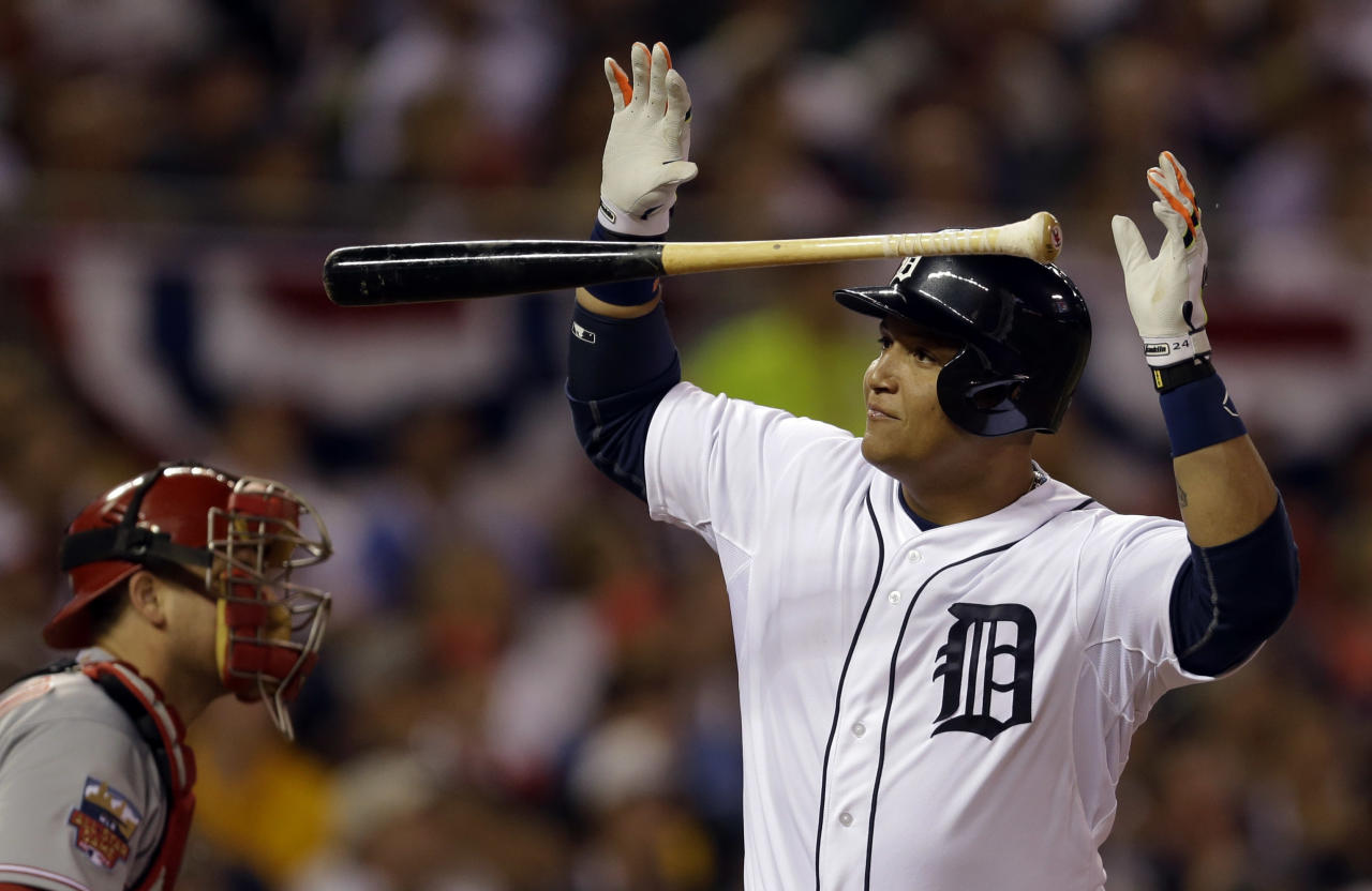 American League's Miguel Cabrera, of the Detroit Tigers, reacts after flying out to end the fifth inning of the MLB All-Star baseball game, Tuesday, July 15, 2014, in Minneapolis. (AP Photo/Jeff Roberson)